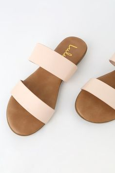 From slides to thongs, find comfy and cute women's flat sandals at affordable prices with Lulus! Our on-trend casual and dressy flat sandals are super stylish! Dressy Flat Sandals, Trendy Sandals, Two Strap Sandals, Cute Sandals, Sport Sandals, Comfortable Sandals, Dress Sandals, Cute Shoes, Slide Sandals