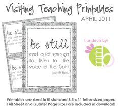 Free LDS Printables   Free Printable: April 2011 Visiting Teaching Message