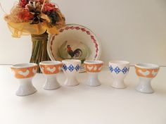 Vintage French Egg Cups With Orange Hen & Blue Flowers - Handpainted - Six (6) Pieces by pentyofamelie on Gourmly