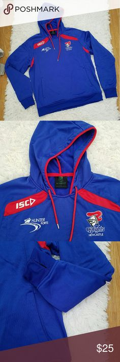 NRL RUGBY KNIGHTS HOODIE Newcastle Knights! This specialist Hoody was designed with performance in mind. Technical sporting specs include; thumbhole openings for increased comfort and practicality, panelled body design with hidden or open hand pockets and poly-ribbed bands at hem and cuffs, dropped front neck and draw cord at hood opening. These details make this the perfect garment for training or everyday wear. NRL Authentics Jackets & Coats
