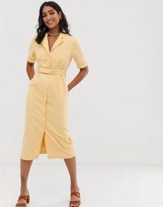 22fb465a ASOS DESIGN denim belted midi dress in buttermilk Asos, Dresses For Work,  Belt,