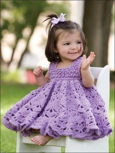 "beautiful! ""TRYING"" to learn to crochet...wishing one day I will be able to make this lovely dress for my little grandaughter-to-be ...one day  :o)"
