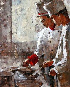 Cozinha Italiana - Andre Kohn e suas pinturas - Impressionismo Figurativo