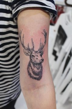 Artist: Woodfarm Tattoo Subject: Stag Style: Etching, Blackwork, Fine Line Tags: Feminine, Delicate, Arm, Epic, Awesome, Small, Cute Placement, Girl, Girls Cheltenham's prestigious tattoo studio TOKYOTATTOO