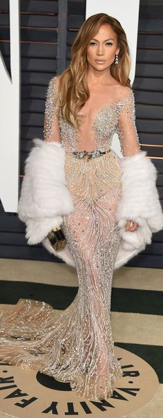 Jennifer Lopez in Zuhair Murad Couture Spring 2015 -  2015 Vanity Fair Oscar Party