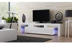 Concept Muebles TV Stand Milano 200 / Modern LED TV Cabinet/Living Room Furniture/Tv Cabinet fit for up to TV Screens/High Capacity Tv Console for Modern Living Room (White & Violet) Tv Stand With Led Lights, Tv Stand Wayfair, Contemporary Tv Stands, Modern Contemporary, Tv Stand Set, Modern White Living Room, Modern Tv Room, White Burgundy, Bedroom Decor