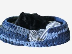 Denim Cat Bed from recycled blue jeans by Mrs Ginther, via Flickr