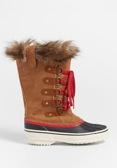 Nora waterproof boot with faux fur trim in tan combo