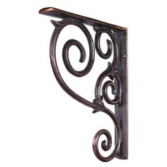"""Home Decor MCOR1-DBAC Metal (Iron) Scrolled Bar Bracket - Dark Brushed Antique Copper by DuBois. $93.37. 1-1/2"""" X 10"""" X 13-1/2"""" Metal (Iron) Scrolled Bar Bracket. Finish: Dark Brushed Antique Copper. Mounting Screws (#8x3/4"""") Included. Not for outdoor use."""
