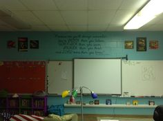The front of my classroom. I made the quote on my silhouette cameo. It turned out amazing!