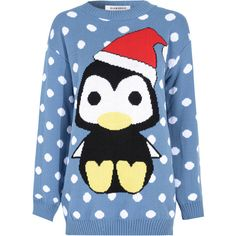 Blue Christmas Penguin Printed Jumper ($27) ❤ liked on Polyvore featuring tops, sweaters, shirts, blue, crew-neck sweaters, polka dot sweater, long sleeve sweaters, blue jumper y blue christmas sweater