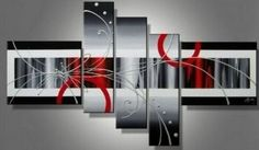 Amazon.com: 100% Hand Painted Art Black Painting Canvas Set Art on Canvas Art Modern Art Group Painting Stretched and Ready to Hang: Home & Kitchen