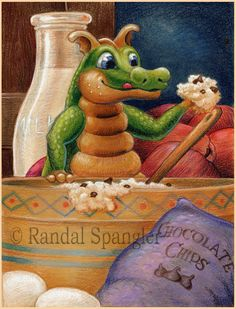 Randal Spangler Dragon Hatchling Egg Baby Babies Cute Funny Humor Fantasy Myth Mythical Mystical Legend Dragons Wings Sword Sorcery Magic Art Fairy Maiden Whimsy