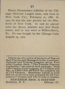 1914 Cracker Jack (E145) #21 Heinie Zimmerman Back
