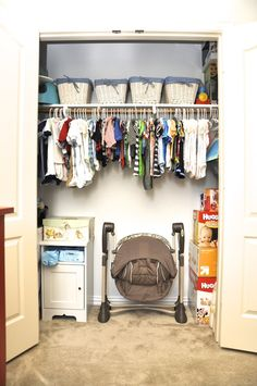 Store some bigger things in the space under hanging clothes like the swing and playmat