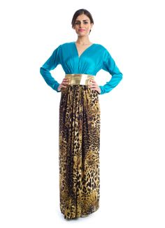 Step up your wardrobe with this classy daywear by Xela! It features a teal and detailed leopard print maxi dress made of satin jersey and trimmed into a V neckline and complimented by a gold sash strap knotted on the waist to bring out that elegant look in every woman. This makes a perfect choice for social events.