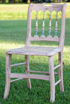 Pulled from the dump, recaned, painted with Annie Sloan Chalk Paint.  Beautiful and sturdier than it looks! #etcfurniture #edenton