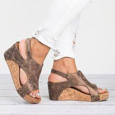 0930d8118bf Peep Toe PU Blocking Hook-Loop Wedge Sandals Sandals 2018