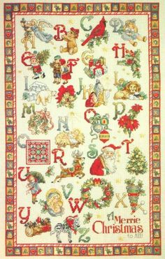 things dear to the heart: Christmas embroidery: Great Alphabet from Vermillion Stitchery Xmas Cross Stitch, Cross Stitch Alphabet, Cross Stitch Samplers, Cross Stitch Love, Cross Stitch Designs, Cross Stitching, Cross Stitch Embroidery, Cross Stitch Patterns, Christmas Alphabet