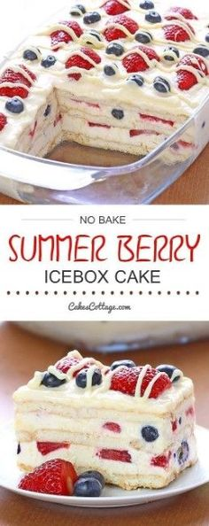 Bake Summer Berry Icebox Cake - Cakescottage Looking for a quick and easy Summer dessert recipe? Try out delicious No Bake Summer Berry Icebox Cake !Looking for a quick and easy Summer dessert recipe? Try out delicious No Bake Summer Berry Icebox Cake ! Easy Summer Desserts, Summer Dessert Recipes, Recipes Dinner, Easy Summer Dinners, Easy Delicious Desserts, Summer Treats, Holiday Desserts, Quick Dessert, Dessert Healthy