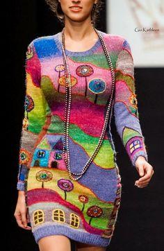 knitted by Anna Lesnikova Knitwear Fashion, Crochet Fashion, Freeform Crochet, Knit Crochet, Moda Crochet, Knit Art, Crochet Clothes, Knit Dress, Hand Knitting