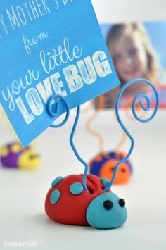 Premo Clay Homemade Ladybug Picture Holder I wanted to create a fun and easy Mother's Day gift idea – something colorful and functional and easy enough to show my tween how to make. I decided on LOVE BUG Ladybug Photo Holders as my crafty clay project.