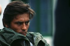 "Alain Delon on the set of ""Les Aventuriers""."