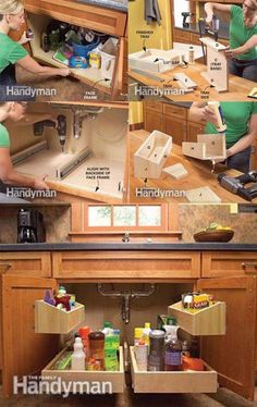 ways to use those soft-close rails we have - DIY Kitchen Cabinets - Create extra space under your sink. Kitchen Cabinet Storage, Diy Kitchen Cabinets, Storage Cabinets, Kitchen Organization, Organizing, Cabinet Space, Kitchen Counters, New Kitchen, Kitchen Decor