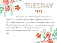 If you struggle with getting side-tracked when you have a lot on your plate, then this Tuesday Tip is calling your name!  http://www.everythingbloom.com/tuesday-tips-171-%C2%B7-time-management