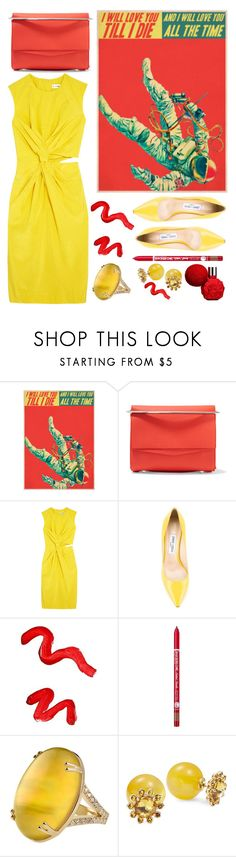 """""""Red and Yellow"""" by sunnydays4everkh ❤ liked on Polyvore featuring Eddie Borgo, Jil Sander, Jimmy Choo, Topshop, Charlotte Russe, Misahara and Kate Spade"""