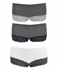 Upgrade your collection of intimates when you add this set of breathable cotton boyshorts to your top drawer. Boyshorts, Top Drawer, Lace Shorts, Charcoal, Cotton, Collection, Black, Women, Fashion