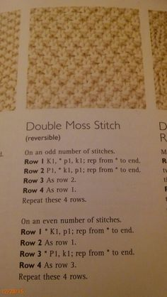 Double Moss Stitch Easy Knitting, Knitting Patterns Free, Knitting Yarn, Knitting Tutorials, Knitting Squares, Knit Patterns, Knitting Charts, Knitting Designs, Knitting Needles