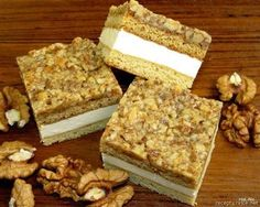 Vlašské medové řezy Sweet Recipes, Keto Recipes, Cooking Recipes, Blondies, Creme, Sweet Tooth, Food Porn, Food And Drink, Sweets
