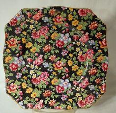"Royal Winton Chintz China Esther Pattern 473 Square Dessert Plate 7"" | eBay"