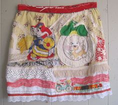 My Bonny Wearable Art SKIRT altered and upcycled varied elements fringe vintage buttons embroidery handkerchief antique crochet baby quilt rooster lace  zipper bicycle table linen polka dots eyelet feedsack quilt woven trim ...