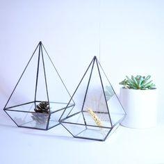 Geometric Glass Terrarium / Handmade Stained Glass / Minigarden / Modern Decoration / Indoor Planting / Plant Terrarium / Pot / Glass Box