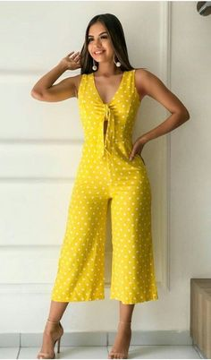 Love this bright yellow and white polka dot jumpsuit.Pin by Kelly Johanna on Ropa in 2019 Find this season's must-have designer dresses, jeans, tops, jackets & more from top designer brands! Stylish Dresses, Fashion Dresses, Casual Outfits, Cute Outfits, Summer Work Outfits, Look Chic, Jumpsuits For Women, African Fashion, Casual Chic