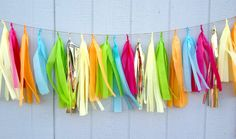 Tropical Breeze Tissue Paper Tassel Garland   Party by ThePaperJar, $35.00