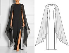 2 in Pattern made of an evening dress in … - Wedding Dresses Elegant Dresses, Beautiful Dresses, Mode Abaya, Dress Sewing Patterns, Fashion Sewing, Mode Outfits, Mode Inspiration, Sewing Clothes, Designer Dresses