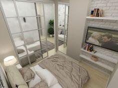 спальня за раздвижной перегородкой в дизайне однокомнатной квартиры 45 кв. м.