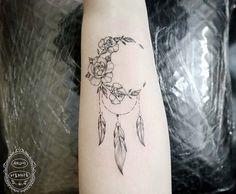 23 Amazing Dream Catcher Tattoo Ideas: #6. CREATIVE HALF MOON DREAM CATCHER TATTOO; #dreamcatcher; #tattoos; #tattooart; #tattoodesign; #tattooidea