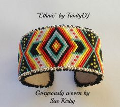BP-ET-001 Ethnic Peyote Stitch Cuff Cover for by TrinityDJ