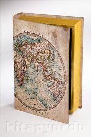Kitap Şeklinde Ahşap Hediye Kutu - Eski Harita kitapyurdu