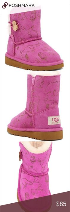New Toddler Ugg Talulah Boots Pink Princess Size 8 Brand new never used or tried on. Plastic zip-tie still intact. They are the 'Talulah' Boot in princess pink. So comfy and cute for your little girl! UGGS Retail $120. - Round toe - Pull-on - Suede construction - Allover animal print - Split shaft with button toggle - UGGPure wool and genuine shearling lined UGG Shoes Winter & Rain Boots