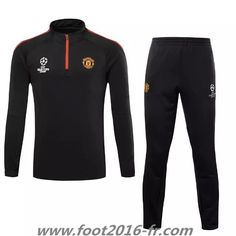 Official Nouveau Survetement de foot Manchester United Noir 2015 2016 equipe de france