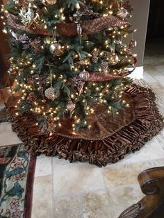 Luxurious Chocolate Brown Christmas Tree Skirt by Reilly-Chance Collection - stunning!