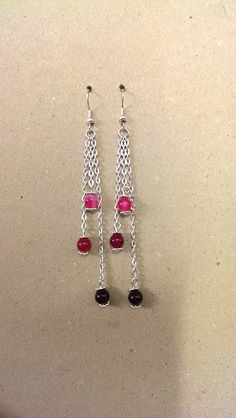 A pair of  Agate Gemstone Earrings with chain and daisy spacer beads.