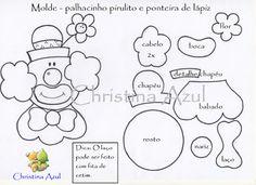 """Christina Azul: Molde """"Palhaço no pirulito e ponteira de lápis"""" em EVA Circus Birthday, Circus Theme, Circus Party, Birthday Parties, Foam Sheet Crafts, Foam Crafts, Diy And Crafts, Paper Crafts, Clown Crafts"""