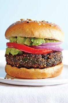 Use whole ingredients to create a simple, tasty homemade veggie Black Bean Quinoa Burger with staying power. Real ingredients, less salt, bigger flavor, and better texture. Black Bean Quinoa Burger, Quinoa Burgers, Bean Burger, Meatless Burgers, Going Vegetarian, Vegetarian Recipes, Healthy Recipes, Burger Recipes, Vegan Dinners