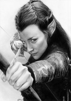 Tauriel by LunaNueva01 | First pinned to Celebrity Art board here... http://www.pinterest.com/fairbanksgrafix/celebrity-art/ #Drawing #Art #CelebrityArt